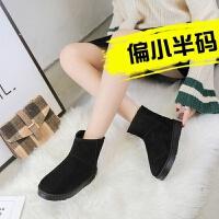 雪地靴女秋冬季新款韩版百搭短筒靴子学生加绒保暖平底棉靴潮 黑 色