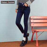 【1件3折到手价:59.7】美特斯邦威冬装新款紧身高腰打底牛仔裤女铅笔裤显瘦商场款