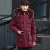 唐裳2017冬季男士棉衣青年中长款加厚保暖棉服学生休闲外套帅气棉袄