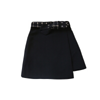 2018春装新款显瘦高腰短裙a字裙皮带扣铆钉机车不规则半身裙皮裙 黑色