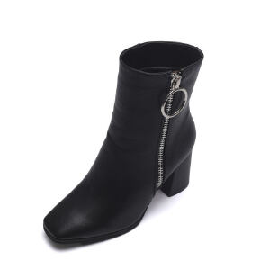 WARORWAR 2019新品YM95-888冬季欧美粗跟鞋高跟鞋女鞋潮流时尚潮鞋百搭潮牌靴子切尔西靴短靴
