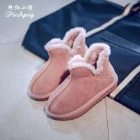 粉红小猪女童雪地靴儿童保暖鞋2018冬季新款中大童男童加绒短靴潮儿童保暖鞋