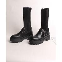 袜子鞋女皮鞋女士短靴秋冬新品时尚学生中筒靴袜套皮鞋 TBP 黑色