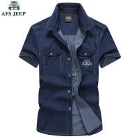 AFS JEEP短袖衬衫战地吉普牛仔短袖男式休闲薄款纯棉衬衫半袖1662