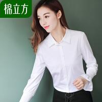 韩范洋气衬衫女潮棉立方2019春装新款女装慵懒风长袖喇叭袖白衬衣