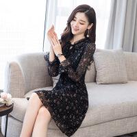 碎花雪纺连衣裙2018春装新款女装流行时尚气质韩版春款长袖裙子潮 黑色