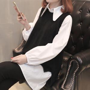 新款春装女装毛衣中长款打底衬衫马甲两件套装长袖潮流针织连衣裙