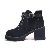 复古英伦风短筒马丁靴女粗跟秋冬季2018新款韩版百搭小短靴高跟鞋