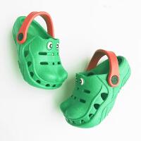 2018新品欧美儿童洞洞鞋 秋季男童绿鳄鱼造型两穿凉拖鞋3岁9岁 绿色