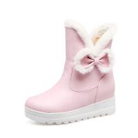 韩版2018冬女童靴子蝴蝶结小女孩公主靴皮靴短靴加厚暖雪地靴童鞋真皮