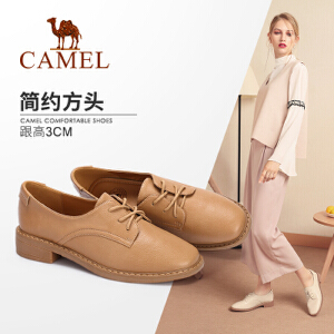 骆驼女鞋 2018秋季新款 时尚简约学院风舒适低跟韩版百搭单鞋女