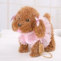 电动钓鱼玩具儿童电动毛绒玩具狗牵绳狗会唱歌走路狗叫学舌泰迪智能机器指令狗A 泰迪公主 棕色
