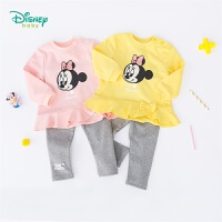 【2件3.5折到手价:90.3】迪士尼Disney童装女童甜美长袖套装新品可爱卡通印花+休闲裤子2件套193T948