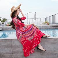 沙滩裙海边度假波长裙民族风红色连衣裙 图片色