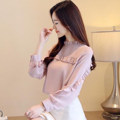 秋装女2018新款韩版百搭长袖雪纺衫仙女气质洋气上衣 荷叶边