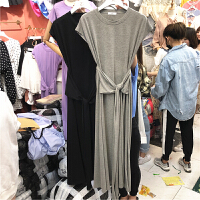 2018夏季Z.韩版显瘦收腰系带中长款时尚短袖气质圆领连衣裙女 黑色 均码