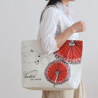 韩国原宿帆布单肩包女大容量手提包百搭简约学生大包包潮 白色 2朵花-白