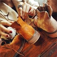 冬季新款英伦风复古真皮马丁靴女短筒短靴学生单靴粗跟女靴