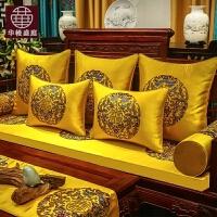 红木沙发垫新中式古典实木家具坐垫加厚防滑罗汉床垫子五件套定制