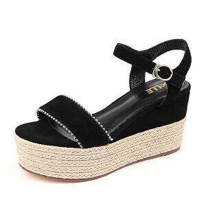 Belle/百丽2018夏季专柜羊绒皮革厚底麻绳女皮凉鞋BUT31BL8