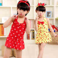 儿童泳衣女童分体连体中大童裙式韩国可爱女孩女童泳衣儿童游泳衣