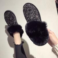 雪地靴女韩版亮片棉鞋女冬 加绒防滑毛毛鞋时尚豆豆鞋女