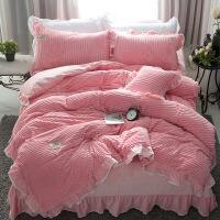 新品秒杀秋冬珊瑚绒四件套双面绒加厚床单 纯色兔兔绒法莱绒保暖床品1.8米