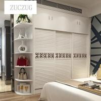 ZUCZUG实木移门衣柜整体推拉门木质衣柜三门卧室大衣柜储物柜可定制 +40顶+40转 3门 组装