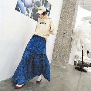 七格格碎花半身裙秋装女2018新款时尚雪纺半身长裙女高腰裙子夏季