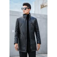 新款冬季海宁 皮衣羽绒服男中长款绵羊皮青年韩版修身加厚外套 黑色