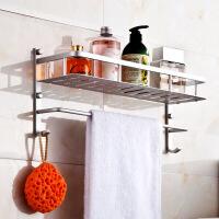 加厚 壁挂太空铝浴室置物架 浴室浴巾架毛巾架太空铝 卫生间置物架收纳壁挂 图片色