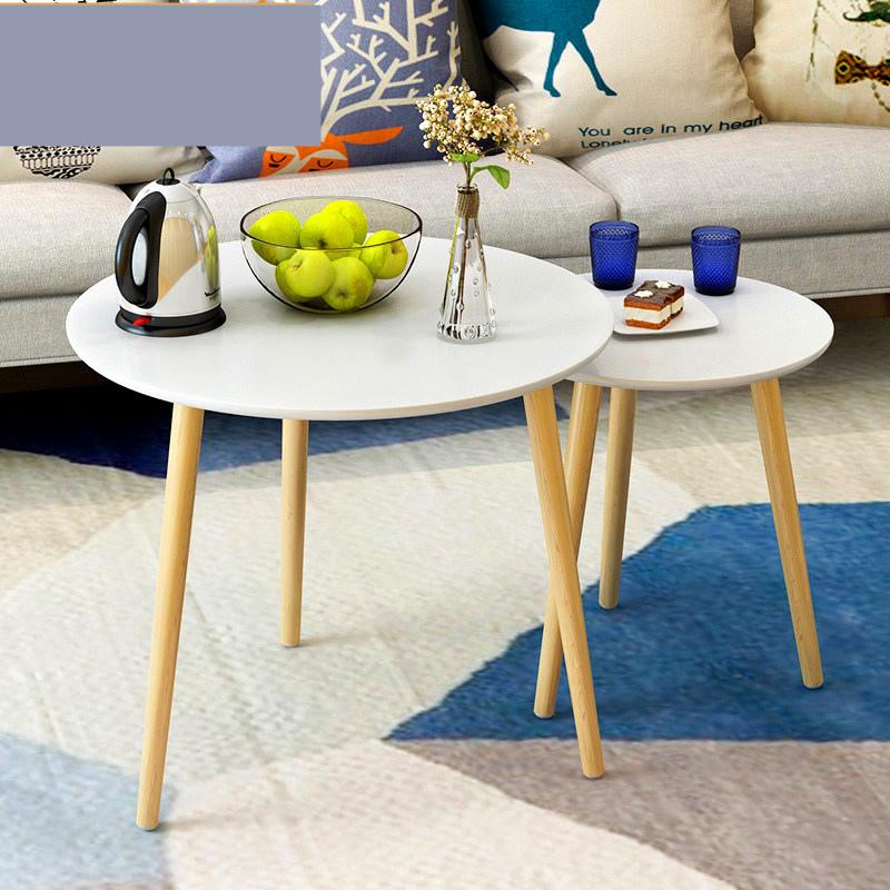 小圆茶几床头桌沙发边桌小圆桌小茶几现代简约角几边几北欧小桌子o0m 实木桌腿 防滑脚垫 安装简易