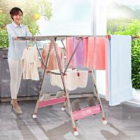 阳台神器婴儿尿布家用凉衣杆晒被子架晾衣架不锈钢落地折叠卧室内 o8s