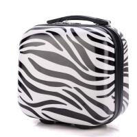 登机子母箱4寸手提箱2寸化妆包迷你拉杆箱小箱旅行箱包行李箱 斑马黑 镜面有膜