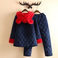 韩版个性夹棉睡衣女冬三层加厚加绒卡通可爱大耳朵连帽家居服套装 深蓝色 X5314