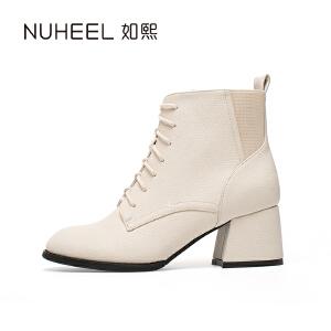 如熙 2017秋冬新款女靴 后帮凭借设计 舒适异形跟时尚女靴