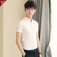 白色短袖衬衫男夏季修身韩版休闲帅气青年男士衬衣薄款发型师衣服