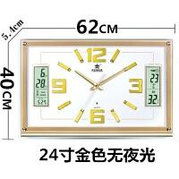 钟表挂钟时钟日历挂表万年历电子钟客厅夜光长方形静音石英钟 其他