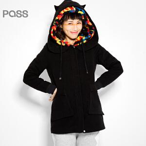 【不退不换】PASS原创潮牌冬装 时尚风琴袋加绒带帽修身中长款棉衣女6540824019