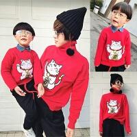 红色猫毛衣亲子装母子母女装秋冬2018秋季新款潮一家三口宝宝外套yly 红色