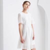 【1件2折到手价:47.8】美特斯邦威连衣裙女夏装新款条纹透视针织连衣裙
