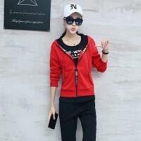 休闲套装女2018新款韩版薄款长袖跑步服修身显瘦运动衣服三件套潮 M 女