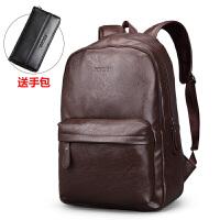 男士双肩包休闲旅行背包包韩版学生书包电脑皮包大容量潮流商务包