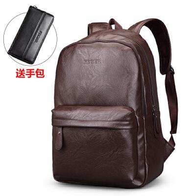 男士双肩包休闲旅行背包包韩版学生书包电脑皮包大容量潮流商务包 发货周期:一般在付款后2-90天左右发货,具体发货时间请以与客服协商的时间为准
