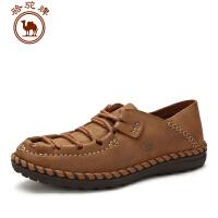 骆驼牌男鞋 秋冬新品手工缝制真皮日常休闲皮鞋男士系带低帮鞋