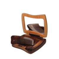 创意欣颜套镜木梳子便携镜子送女友爱人生日礼物 原木色