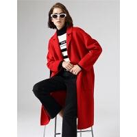 初语毛呢大衣女红色秋季新款休闲宽松显瘦中长款双面呢子外套