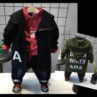 18秋冬新款韩版男童中长款字母百搭风衣外套儿童毛料帽大衣A1-A