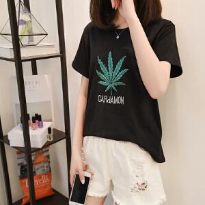 夏季新款短袖T恤圆领绣花纯色T恤衫宽松休闲女式t恤上衣潮