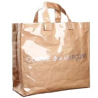 双层透明手提包纸包购物袋单肩包手提袋大包女包 卡其色